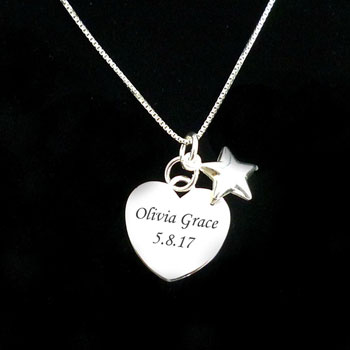 Sterling Silver Engraved Heart & Star Memorial Necklace