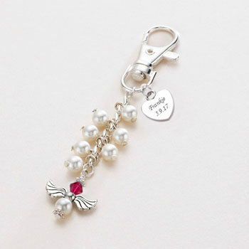 Swarovski Birthstone Angel Bag Charm With Engraved Heart