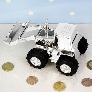 Engraved Silver Plated Digger Money Box