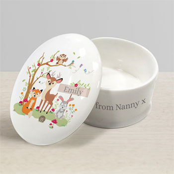 Personalised Woodland Bone China Children's Trinket Box