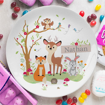 Personalised Woodland 8 Inch Bone China Plate
