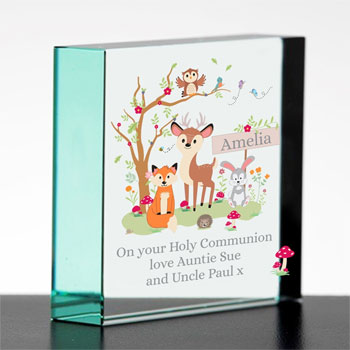 Personalised Baby's Woodland Themed Jade Glass Block
