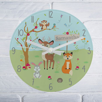 Personalised Woodland Glass Children's Nursery Wall Clock