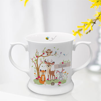 Personalised Woodland Scene China Baby Loving Cup