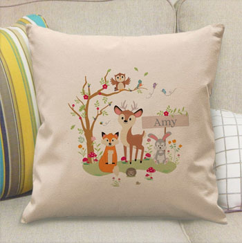 Personalised Woodland Animals Filled Children's Cushion