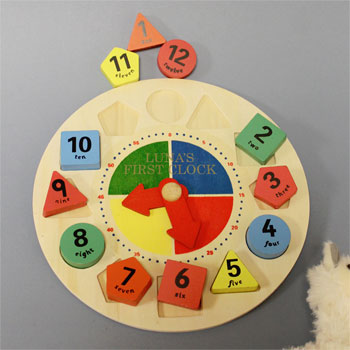 Personalised Wooden Shape Sorter Learning Clock For Toddler