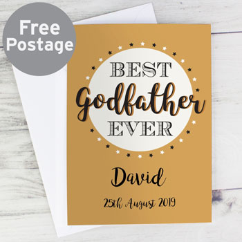 Personalised Gold Best Godfather Ever Greetings Card