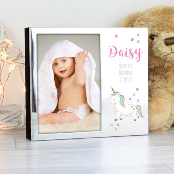 Girl's Personalised Baby Unicorn 4x6 Photo Frame Photo Album