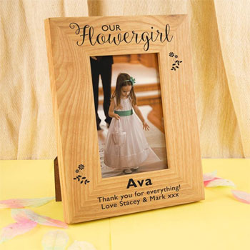 Our Flower Girl Engraved Floral Oak Photo Frame