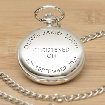 Engraved On Your Christening Stainless Steel Pocket Watch