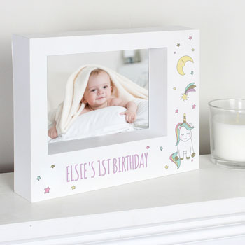 Girl's Personalised Baby Unicorn 7 x 5 inch Box Photo Frame
