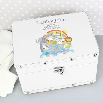 Personalised Noah's Ark White Leatherette Baby Keepsake Box