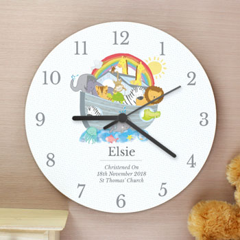 Personalised Noah's Ark White Wooden Baby Christening Clock