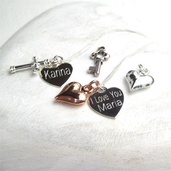 Bespoke Engraved Sterling Silver Heart Necklace & Charm
