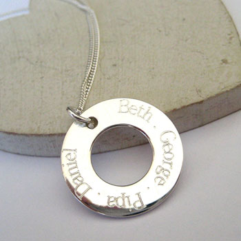 Personalised Engraved Sterling Silver Eternity Necklace