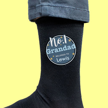 Personalised No.1 Men's Black Socks Dad Granddad Size 6-11