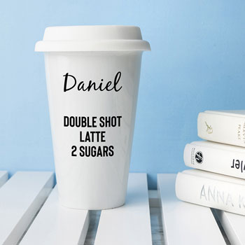 Personalised Ceramic Name and Order Travel Coffee Mug