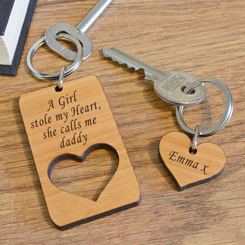 Personalised She Calls Me Daddy 2 Piece Wooden Keyring Set
