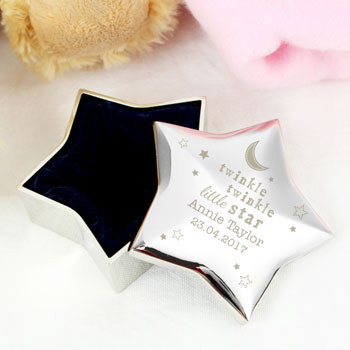 Personalised Silver Plated Twinkle Twinkle Baby Trinket Box