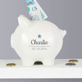 Personalised Blue Star Motif Ceramic Baby Boy's Piggy Bank
