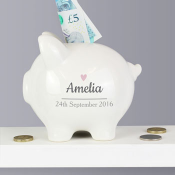 Personalised Pink Heart Motif Ceramic Piggy Bank