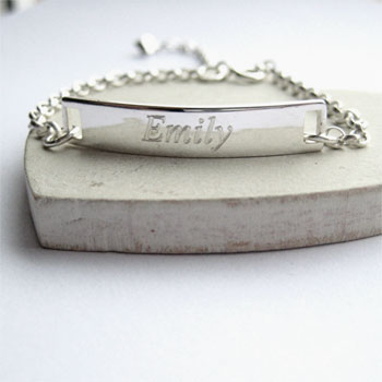 Personalised Engraved Sterling Silver ID Bracelet