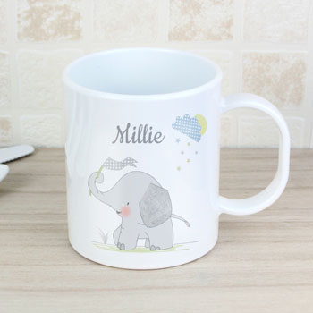 Personalised Hessian Elephant Plastic Toddler Drop-Proof Mug