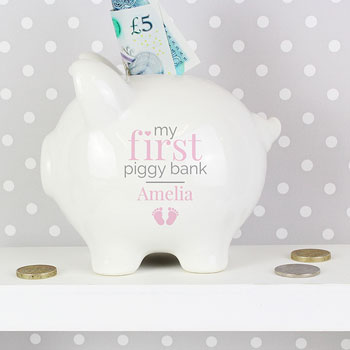 Personalised Pink Girl's My First China Piggy Bank