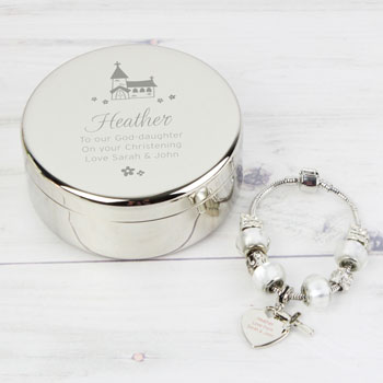 Personalised Church Round Trinket Box & Charm Bracelet