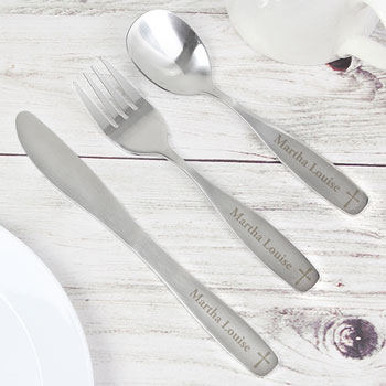 Personalised 3 Piece Cross Stainless Steel Cutlery Set