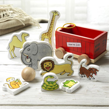 Personalised Dear Zoo Wooden Toy Skittles Set