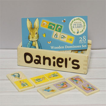 Children's Personalised Peter Rabbit Wooden Dominoes Set