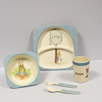 Personalised Peter Rabbit Bamboo Breakfast Or Dinner Set