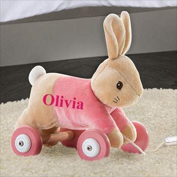 Girl's Personalised Flopsy Bunny Pull Along Toddler Toy