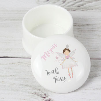 Girl's Personalised Tooth Fairy White Ceramic Trinket Box