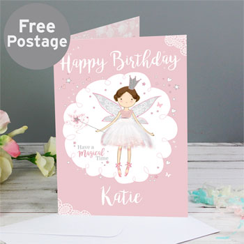 Girl's Pink Personalised Fairy Princess Birthday Card