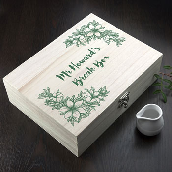 Personalised Teachers Floral Design Tea Break Box With Teas
