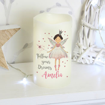 Girl's Personalised Fairy Princess Nightlight LED Candle
