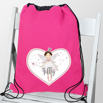 Girl's Pink Personalised Fairy Princess PE Kit School Bag