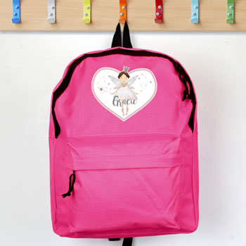 Personalised Fairy Princess Pink Girl's Backpack School Bag