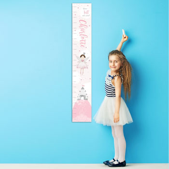 Girl's Pink Personalised Fairy Princess Growth Height Chart