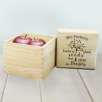Personalised Teachers Plant Seeds Wooden Cube Box