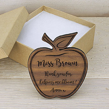 Personalised Teachers Apple Shaped Walnut Wood Fridge Magnet
