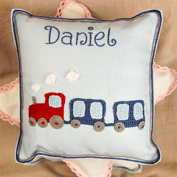Boy's Personalised Crocheted Nursery Cushion Various Designs
