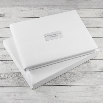 Personalised White Leather In Memoriam Book