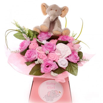 Pink Baby Girl Elephant Clothing Bouquet
