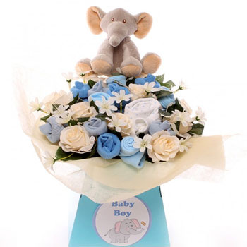 Newborn Baby Boy Blue Elephant Clothing Bouquet