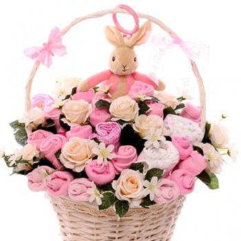 Flopsy Bunny Pink Baby Basket Newborn Girl Clothing Bouquet