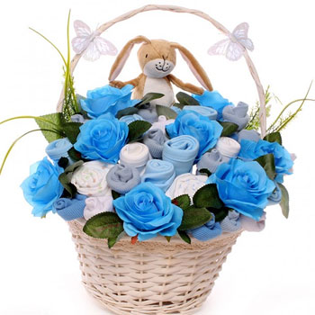 Boy's Guess How Much I Love You Baby Clothing Bouquet Basket