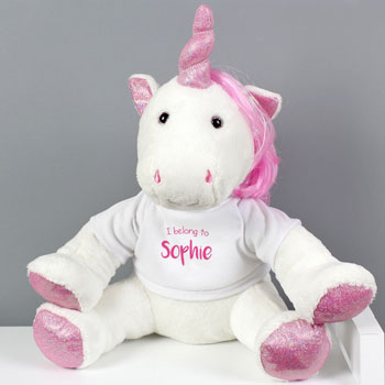 Girl's Personalised I Belong To Plush White Unicorn Soft Toy